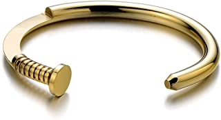 Mens Screw Nail Bangle Cuff Bracelet of Stainless Steel Polished
