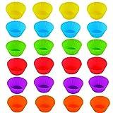 Duyuen 24Pcs Stampi per Dolci in Silicone,7CM Formine per Muffin Silicone Cupcake Liners Pirottini Silicone Muffin,per Tortine Biscotti Torte Budini Focaccine(6 Colori)