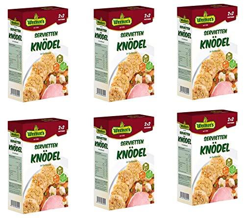 Werner´s Serviettenknödel im Kochbeutel 2x2 Portionen, 6 Packungen/Karton, ohne Farbstoffe, ohne Geschmacksverstärker. 1 Portion (ca. 135 g) entspricht 210 kcal
