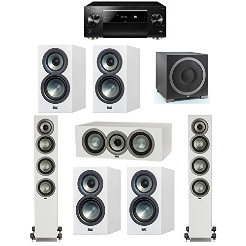 Best Bargain ELAC Uni-Fi Slim White 7.1 System with 2 FS-U5 Floorstanding Speakers, 1 CC-U5 Center S...