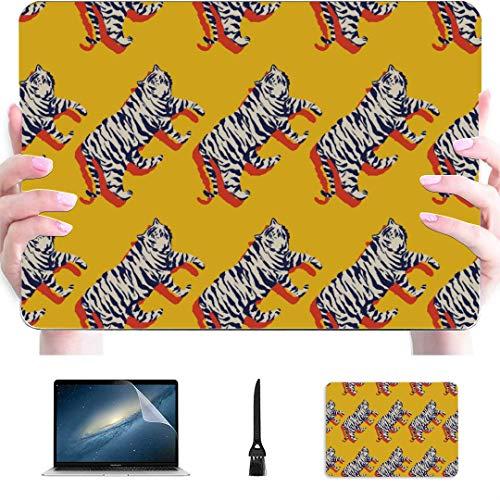 Funda Macbook Pro Strong Tiger Pintado Plástico Carcasa Dura Compatible Mac Macbook Funda Accesorios de protección de 12 Pulgadas para Macbook con Alfombrilla de ratón