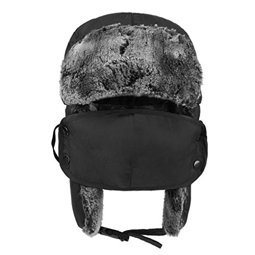 Kids Trapper Hat Children Warm Windproof Winter Hat with EarFlaps Cover for Face, Children's Thermal Faux Fur Earflap Hat with Cover Outdoor Trooper Trapper Hat Ushanka Hunting Hat for Boys Girls