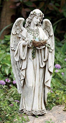 Roman 24″ Joseph's Studio Angel Holding Bird's Nest Outdoor Garden Statue
