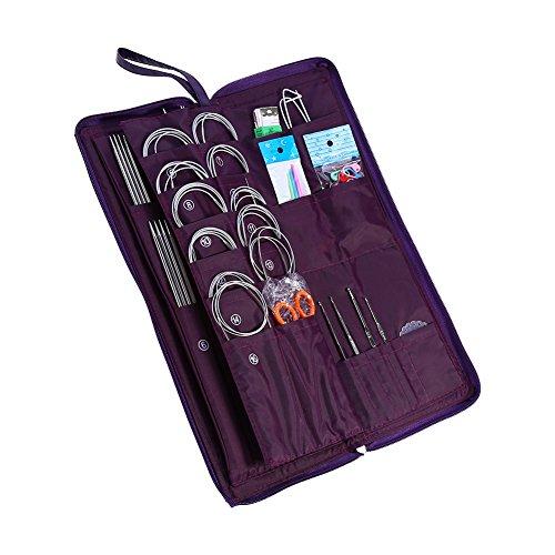 Yosoo New 104 pcs Stainless Steel Straight Circular Knitting Needles Crochet Hook Weave Tools Accessories Set