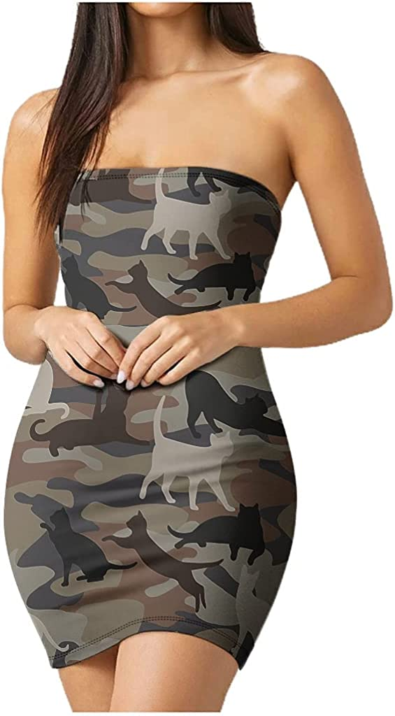 Camouflage Cat Women's Tube Top Dress Strapless Stretchy Night Out Dress Summer