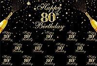 新しい7x5ftブラックとゴールドの80歳の誕生日の背景のステップアンドリピート80歳のシャンパンが写真の背景を祝うママパパおばあちゃんおじいちゃんポートレートパーティーテーブル写真ブースデジタルバナー