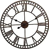 Reloj de Pared Vintage, Reloj de Decoración Impermeable para Jardín Al Aire Libre con Números Romanos de Cara Abierta, Decoración de Pared de Hierro Interior para Sala de Estar, Terraza, Patio