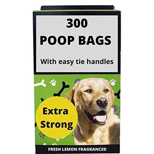 300 Hundekotbeutel extra starke Kotbeutel für Hunde, Zitronenduft, Hundekotbeutel, Maße: 26 x 29 cm, Hundekotbeutel mit Griffen zum einfachen Binden von Hundebeuteln