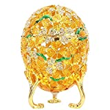 Fabergé - Organizador de joyas esmaltado con forma de huevo de Pascua con diamantes pintados a mano, aleación, caja de decoración de regalo