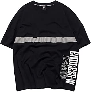 Loose T-Shirt Short Sleeve Round Neck Original Street Fashion Comfortable with Attractive Reflective Strip