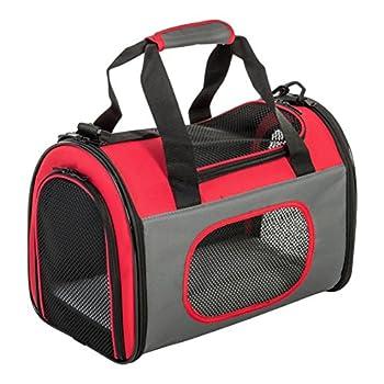 Iris Ohyama, Cage pliable et transportable pour animal de compagnie , chien et chat - Pet Crate - DCC002, Nylon, rouge, taille S, 30 x 18 x 18,5 cm