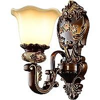 壁の光 ヨーロッパスタイルのウォールランプリビングルームの背景壁ランプクラシックラグジュアリーレトロな寝室のベッドサイドウォールランプ ライトライトを照らします (Color : A)