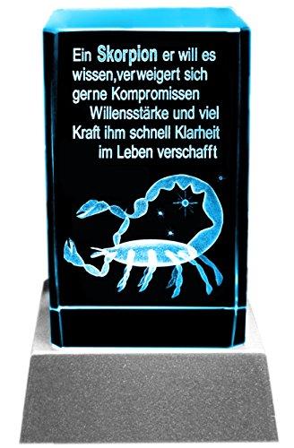 Kaltner Präsente Sfeerlicht – het perfecte cadeau: led-kaars/kristal glazen blok / 3D-lasergravure sterrenbeeld schorpioen