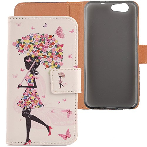 """Lankashi PU Flip Leder Tasche Hülle Case Cover Schutz Handy Etui Skin Für ZTE Blade A512 5.2\"""" Umbrella Girl Design"""