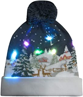 Knitted Christmas LED Beanie, Witspace Unisex Xmas Light-up Cute Hat 3D Pattern Christams Gift Clothes Accessory