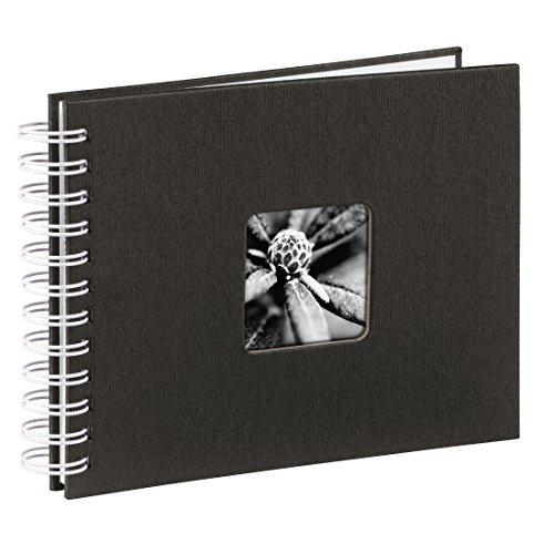 Hama Fotoalbum 24x17 cm (Spiral-Album mit 50 weißen Seiten, Fotobuch mit Pergamin-Trennblättern, Album zum Einkleben und Selbstgestalten) schwarz