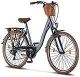 Licorne Bike Violetta (Anthrazit) 28 Zoll Damenfahrrad,CTB ab 160 cm, Fahrrad-Licht, Shimano 21 Gang-Schaltung, Damen-Citybike, Retro, Holland, Amsterdam, Korb, Gabelfederung
