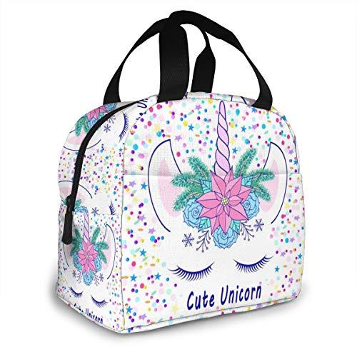 Bolsa de almuerzo con diseño de unicornio floral para mujeres, hombres, niños, reutilizable, con bolsillo frontal, bolsa para el almuerzo, para viajar, picnic, trabajo, escuela