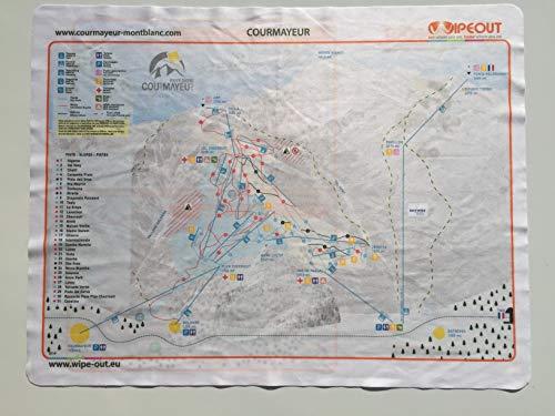 Wipeout Courmayeur Piste Kaart gedrukt op Microvezel - DE essentiële ski-accessoire omvat Helbronner lift