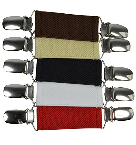 Olata Damen Elastisch Pullover/Cardigan Clip für Kleidung. Paket von 5 - Schwarz/Weiß/Hellcreme/Rot/Braun