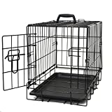 Dog Crates for Extra Large Dogs - XXL Dog Crate 48' Pet Cage Double-Door Best for Big Pets - Wire Metal Kennel Cages with Divider Panel & Tray - in-Door Foldable & Portable for Animal Out-Door Travel