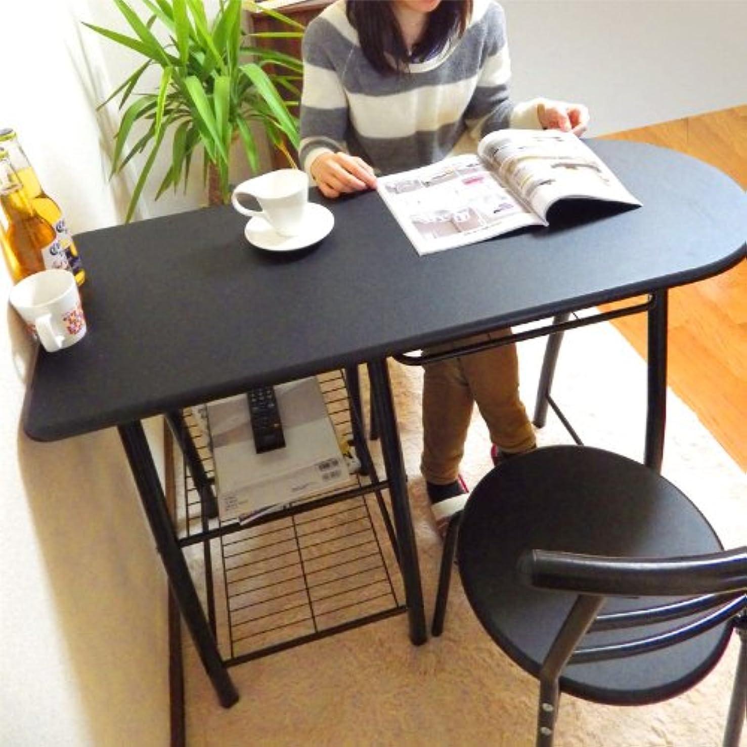 ラインナップブッシュピッチ天板80cm高 HIGH-TYPE カウンターダイニングテーブル3点セット ブラック(黒) 110cm幅 チェア2脚付き