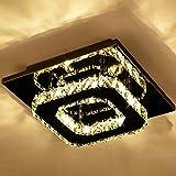 Luces De Techo Led Modernas Luces De Techo Cuadradas De Cristal Led Base De Acero Inoxidable Iluminación De Araña De Montaje Semi Empotrado Para Dormitorio, Balcón Y Pasillo, Blanco Cálido
