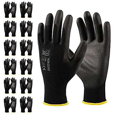 COOLJOB Polyurethane (PU) Coated Safety Work Gloves, 12 Pairs Working Gloves with Grip, One Dozen Bulk Pack, Black, Small Size (12 Pairs S)