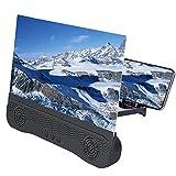 Spachy 3d pantalla de teléfono lupa con altavoces Bluetooth 12 pulgadas teléfono móvil proyector pantalla Amplificador HD películas teléfono móvil pantalla ampliador para todos los smartphones