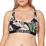 Calvin Klein Cut out Bralette Parte de Arriba de Bikini, Negro (Tropical Print Black 00T), S para Mujer