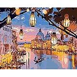 SANYOCZH Pintar por Numeros Adultos, Niños, DIY Paint by Numbers, Cuadros para Pintar por Numeros, Incluye Lienzo, Pincel, Pigmento Acrílico, Decoraciones para El Hogar (20'*16', Venecia Nocturna)