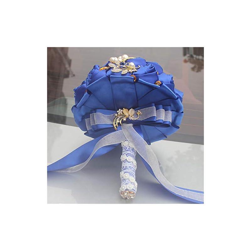 "silk flower arrangements fiwisora brooch bouquet 9"" bride bridesmaid satin rose wedding bouquet w/gold crystal brooches custom-made artificial floral bouquet centerpiece arrangement, royal blue bouquet"