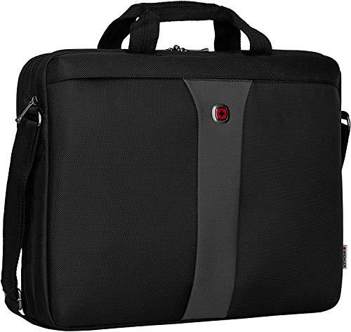 Wenger Legacy Aktentasche, Laptoptasche zum Umhängen, Notebook bis 17 Zoll, 12 l, Damen Herren, Büro Business Uni Schule, Schwarz/Grau