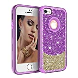 Ankoe iPhone SE 5S 5 Case, Hybrid Heavy Duty Shockproof Diamond Studded Bling Rhinestone Case with Hybrid Rubber Armor + Front Bumper Case for iPhone 5,iPhone 5S, iPhone SE (Purple+Gold)