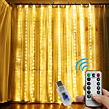 Curtain Lights by ALZERO, 300 LED Window Curtain Lights with 8 Modes USB Powered Fairy Lights for Birthday Wedding Party Home Bedroom Garden Outdoor Indoor Wall Decorations (Warm White, 9.8x9.8FT)