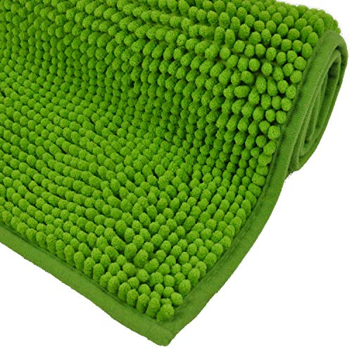 WohnDirect Badematte Grün • Badezimmerteppich zum Set kombinierbar, rutschfest & Waschbar • Badvorleger, WC Garnitur, Badteppich • 50x80cm