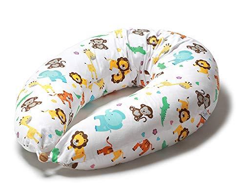 Niimo Cojin Lactancia Bebe y Almohada Embarazada Dormir XXL Multifuncion Funda Cojin 100% Algodon Desenfundable y Lavable Relleno de Poliester Multiusos Maternidad (Selva)