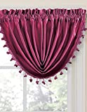 Durable Solid Color Rod Pocket Crinkled Window Treatment Curtain Panel Drapes & Waterfall Fringed Valance (57' X 37' Valance, Burgundy)
