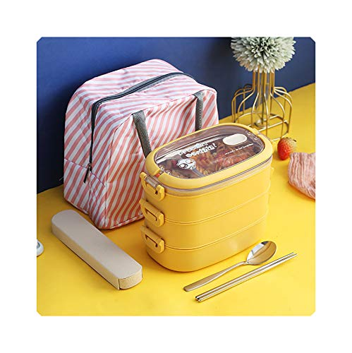 Caja de almuerzo de tres capas con compartimento aislado, de acero inoxidable