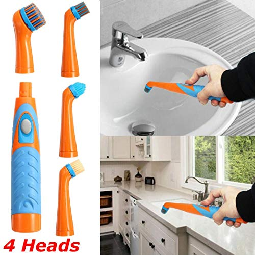 4Heads Super Sonic Scrubber Cleaning Electric Brush House Helper Kitchen UK