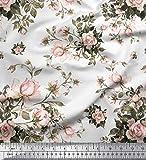 Soimoi Weiß Baumwolle Ente Stoff Blätter & Rose Blumen-