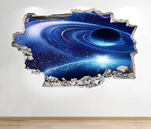 1Stop Graphics Shop SPACE WALL STICKER 3D LOOK - MOON PLANET GALAXY STARS BOYS BEDROOM Z249 Size: Large