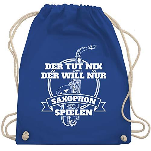 Shirtracer Instrumente - Der tut nix der will nur Saxophon spielen - Unisize - Royalblau - turnbeutel WM110 - Turnbeutel und Stoffbeutel aus Baumwolle