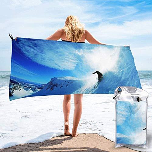 Toalla de Playa 27.5 'X 55',Esquí Arena Ultra Suave Microfibra Portátil Absorbente de Agua Microfibra múltiple Sin Arena Toalla de Playa Manta-Ski Blue Sky