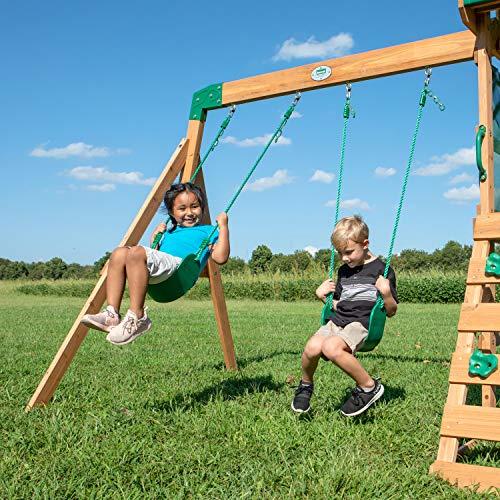 Backyard Discovery Spielturm Buckley Hill aus Holz | XXL Spielhaus für Kinder mit Rutsche, Schaukel und Kletterleiter| Stelzenhaus für den Garten - 2