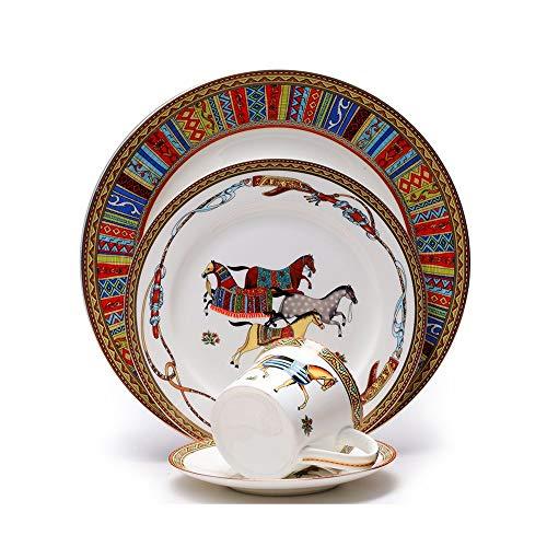 Sunbobo Table Decoration Plate 4 Piezas de Porcelana de Hueso del vajilla del Restaurante del Filete del hogar Platos Platos de cerámica Western Steak Plate (Color : Multi-Colored, Size : One Size)
