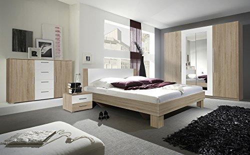 Furniture24 Schlafzimmer-Set Vera Elegante Bett, Kommode, Drehtürenschrank, Kleiderschrank, Bettgestelle, Schlafmöbel, Nachttische, Ehebett (180 x 200, Sonoma Eiche/Weiß)