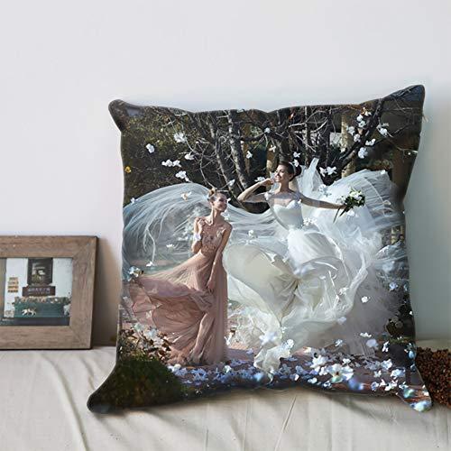 deutschwaren Fotokissen Personalisiertes Kissen individuellem Bild mit Füllung Doppelseitiges Bild Foto Bedrucken Kissen Farbig zum Geburtstag Jahrestag (50x50cm)
