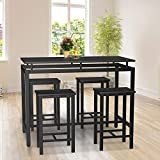 HCWORLD Kitchen Table and Chairs, 5 Pieces Dining Table Set for 4 Modern Counter Height Pub Perfect for The Bar, and Kitchen Room (Black)