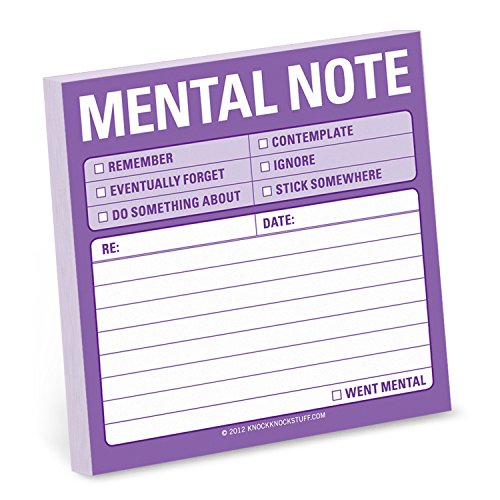 1-Count Knock Knock Mental Note Sticky Notes, To Do List Notepads, 3 x 3-inches each